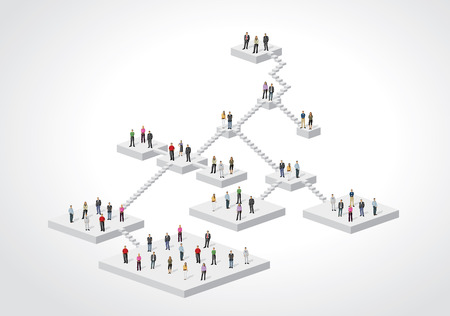 hierarchy: Template for advertising brochure with business people on hierarchy tree