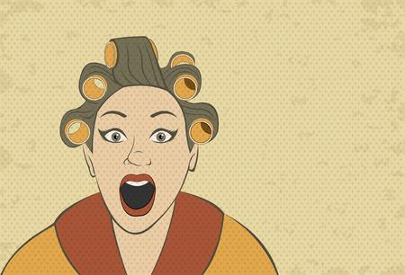 brunet: Brunet retro woman screaming. Vintage art. Illustration