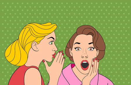 Beautiful retro woman whispering to gossip to her surprised friend. Vintage art.