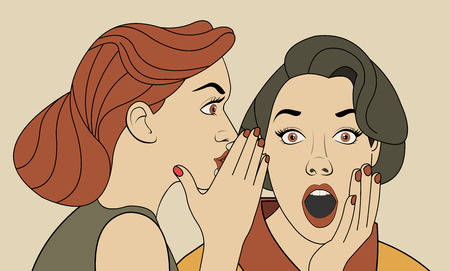 astonishment: Beautiful retro woman whispering to gossip to her surprised friend. Vintage art.