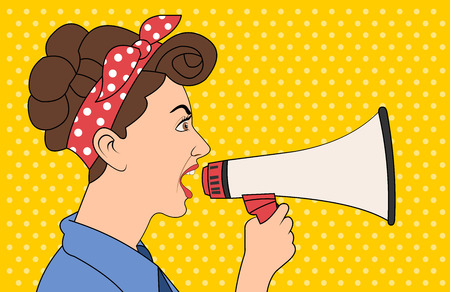 Brunet retro woman shouting with megaphone. Vintage art. Illustration