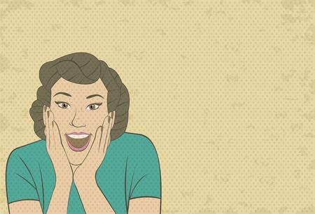 брюнет: Красивая брюнетка ретро женщина удивлен. Урожай искусство. Иллюстрация
