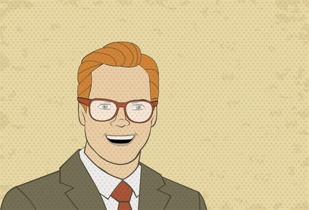 persona feliz: Retro gafas hombre que llevaba. Del arte del vintage.