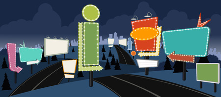 billboards: Cartoon road with billboards at night. Ad signs. Illustration