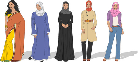 arab girl: Group of beautiful Muslim women Illustration