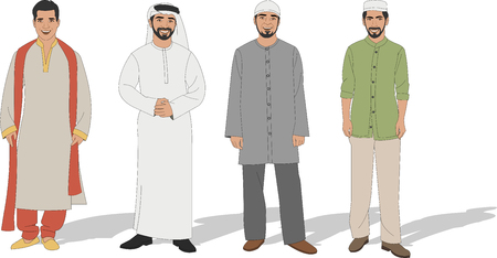 asian people: Group of four Muslim men