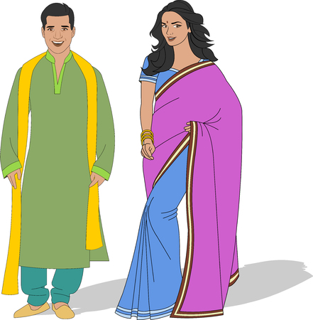 girl happy: Indian couple wearing traditional clothes Illustration