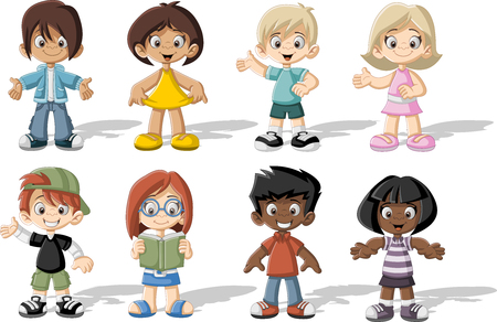 girl friends: Group of happy cartoon children. Cute kids.