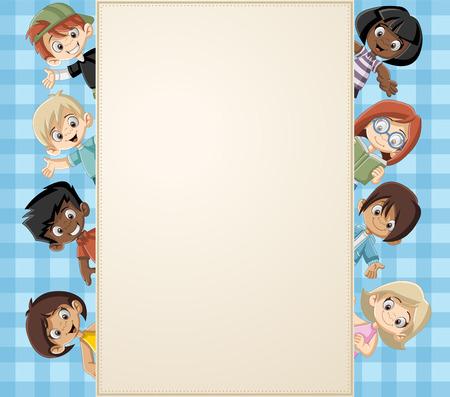 幸せな漫画の子供たちのグループにカード。  イラスト・ベクター素材
