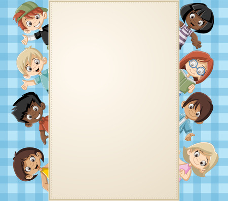 Card with a group of happy cartoon children.