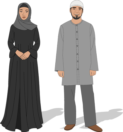friends together: Muslim couple wearing traditional clothes