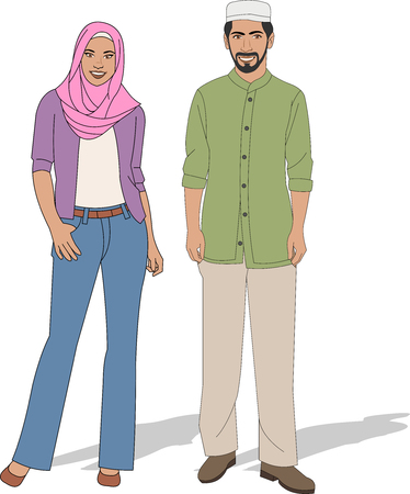 hijab: Muslim couple wearing traditional clothes