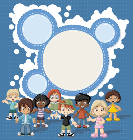 Template with a group of happy children cartoon Illustration