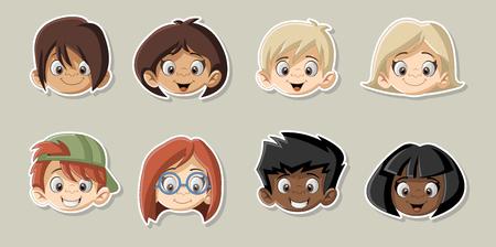 relatives: Group of happy cartoon children. Cute kids.