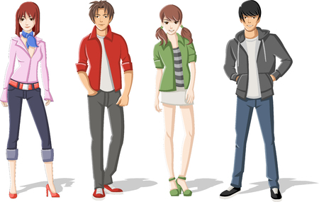 student boy: Group of cartoon young people. Manga anime teenagers.