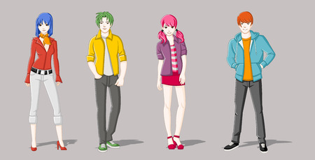 adolescent sexy: Group of cartoon young people. Manga anime teenagers.