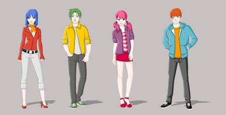 fashion girl: Group of cartoon young people. Manga anime teenagers.