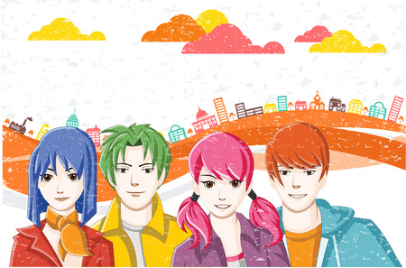 maniaco: Group of cartoon young people in the city. Manga anime teenagers. Vettoriali