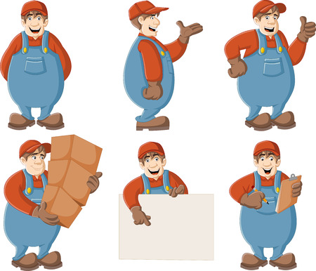 fixing: Cartoon worker wearing overalls and hat. Illustration