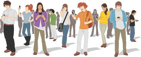 people group: Group of people with smart phones