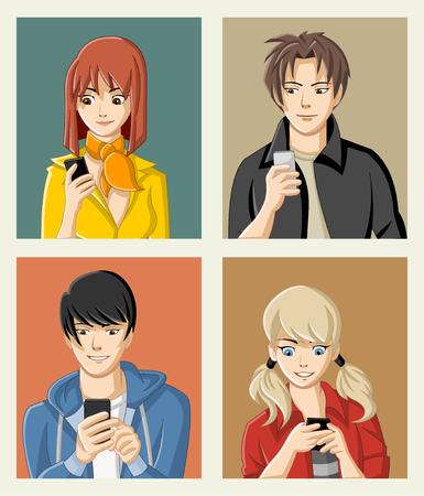 niño y niña: Grupo de dibujos animados jóvenes con teléfonos inteligentes. Adolescentes anime manga.