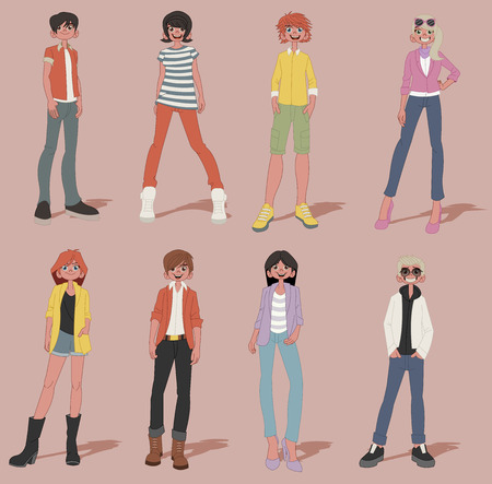 juvenile: Group of cartoon young people. Teenagers. Illustration