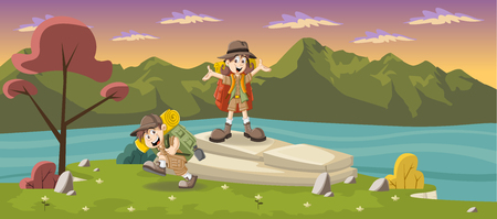 cartoon emotions: Cute cartoon kids in explorer outfit on a green park with a blue lake Illustration