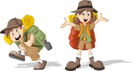 エクスプ ローラーの服でかわいい漫画の子供たち  イラスト・ベクター素材