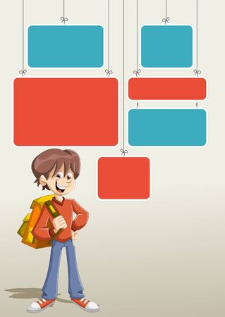 schoolkid: Red and blue template for advertising brochure with cartoon young boy student with backpack.
