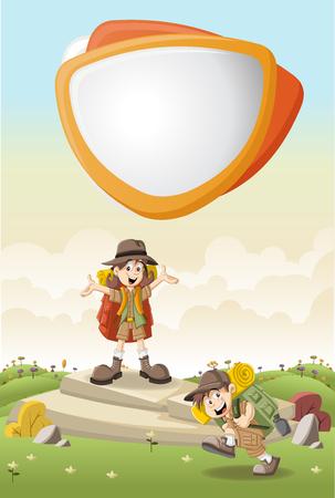 kid vector: Niños de dibujos animados lindos en traje de explorador en un parque verde