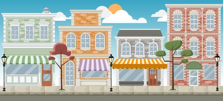 Street of the city with colorful shops Illustration