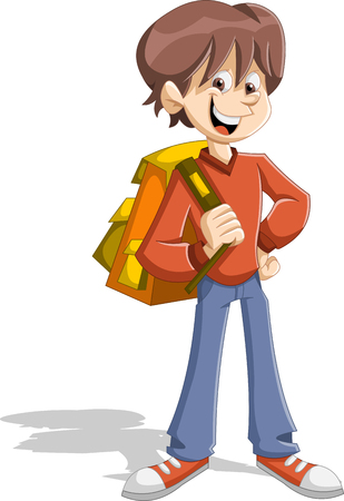 ni�o con mochila: Cartoon young boy student with backpack. Teenager. Vectores