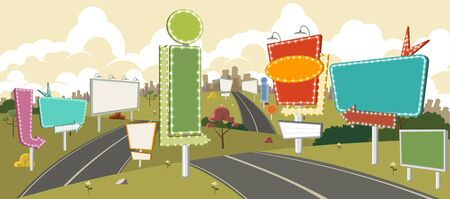 billboards: Cartoon road with billboards. Ad signs.