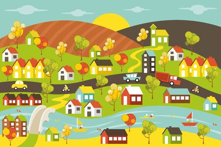 alpine: Colorful city with houses, cars, trees and river