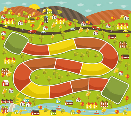 city park boat house: Board game with a block path on the city Illustration