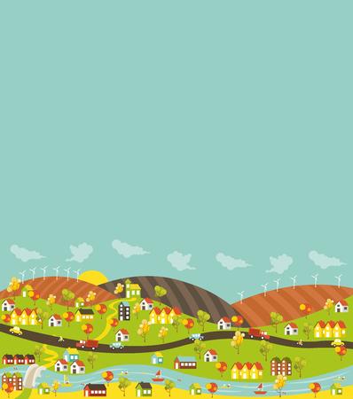 colorata città con case, automobili, alberi e fiume