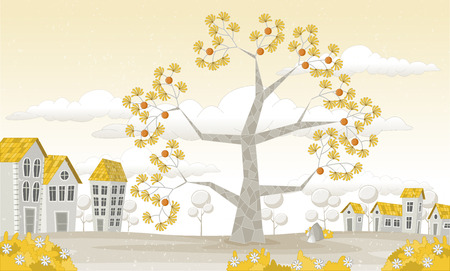 town house: Yellow park in the city with big tree