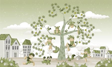 Groen park in de stad met kinderen en dieren over een boom.
