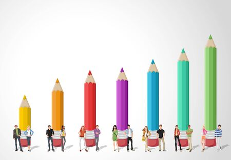 colored pencil: Template for advertising brochure with Teenager students in front of colored pencil chart