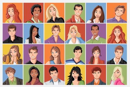 Faces of fashion cartoon young people. Stock Illustratie