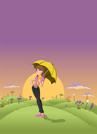 brunets: Cute cartoon girl holding yellow umbrella in the sunset on a green park