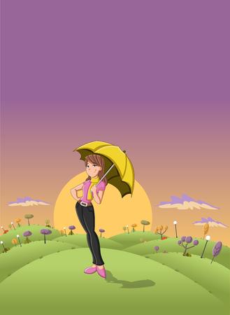beautiful girl: Cute cartoon girl holding yellow umbrella in the sunset on a green park