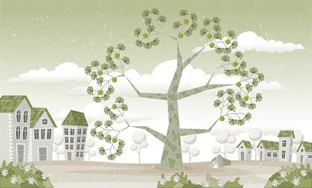 arboles frutales: parque verde en la ciudad con el �rbol grande Vectores