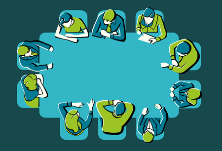 business meeting: Colorful meeting table with business people working on office Illustration