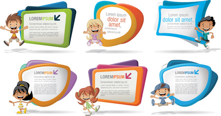 Colorful template for advertising brochure with a group of six cartoon children Stock Illustratie