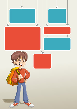 maniac: Red and blue template for advertising brochure with cartoon young boy student with backpack.