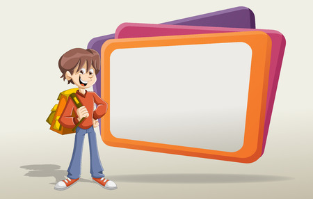 maniac: Cartoon young boy student with backpack in front of the big screen.