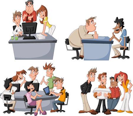 オフィスで働く幸せ漫画ビジネスマン  イラスト・ベクター素材