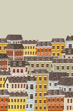 real state: Big colorful city landscape with buildings Illustration