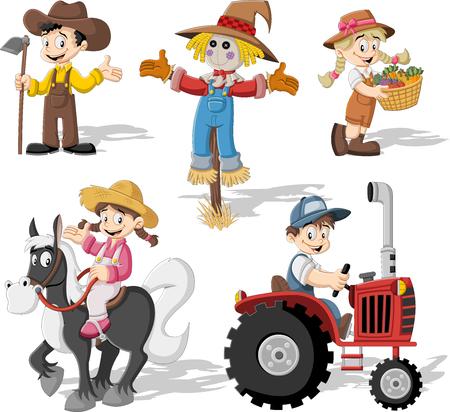 obrero caricatura: Grupo de los agricultores de dibujos animados de trabajo Vectores